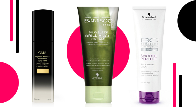 Alterna Bamboo Luminous Shine Silk-Sleek Brilliance Cream, ProfessionalBonacure Smooth Perfect, Oribe Imperial Blowout Transformative Styling Creme