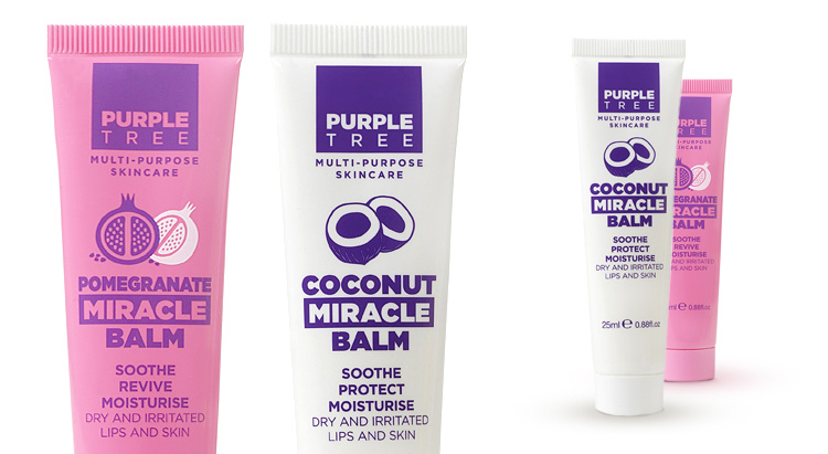 Бальзамы для губ Papaya Miracle Balm и Pomegranate Miracle Balm, Purple Tree